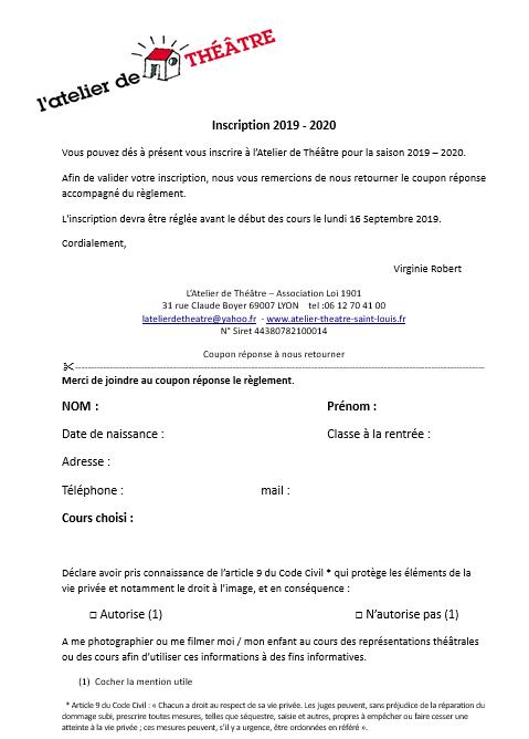 Planning 2019 - 2020 tarifs