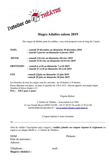 Stages adultes 2019