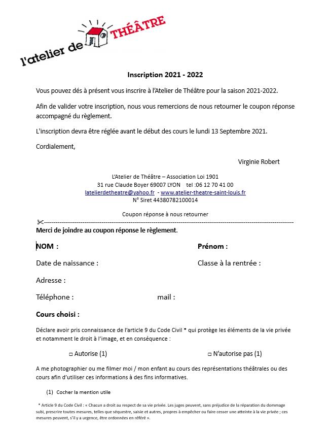 Papier inscription 2021 - 2022